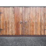 Closed wooden gates background